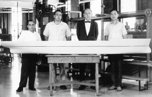 Louis Landweber (second from right) joined IIHR in the mid-1950s and initiated IIHR's major ship hydrodynamics research program, which continues today under the guidance of Professor Fred Stern. Also pictured is Shop Manager Dale Harris (left).